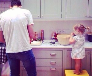 baby, daddy, and kitchen image