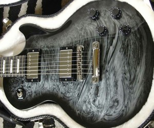 black, guitar, and silver swirls image