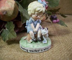 figurine, girl, and cat kitten image