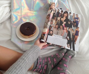 donuts, magazine, and socks image