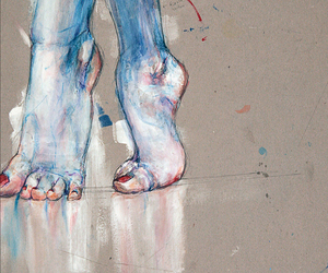art, feet, and drawing image