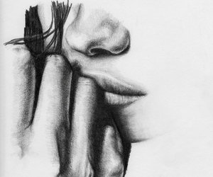 black and white art, original artwork, and lost in thought drawing image