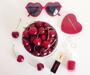 cherry, nail art, and red image