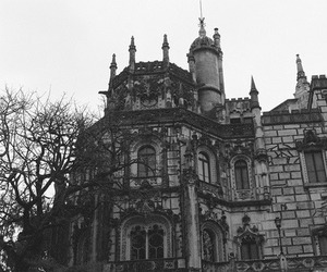 castle, architecture, and black and white image