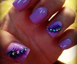 nails, purple, and feather image
