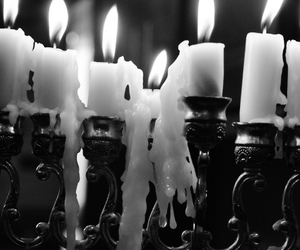 candle, black and white, and fire image