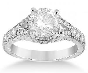 diamond engagement ring and antique style ring image