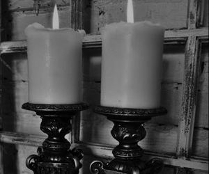 candle, black and white, and Darkness image
