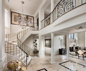 interior, white, and stairs image
