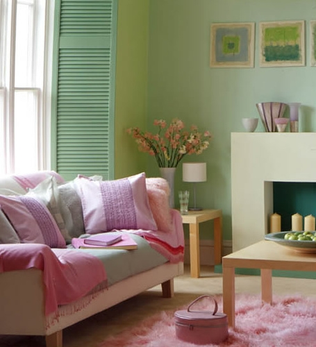 living room, decorating, and green image