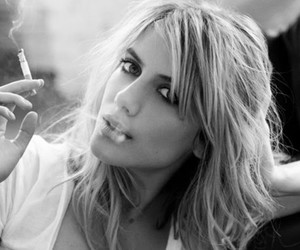 melanie laurent, black and white, and cigarette image