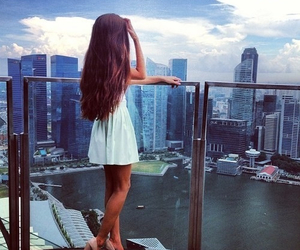 girl, dress, and city image