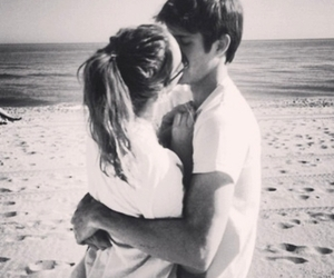 affection, beach, and black and white image