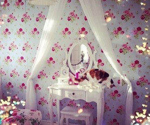 room, cat, and flowers image