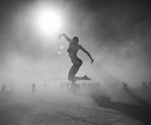 art, black and white, and Burning Man image