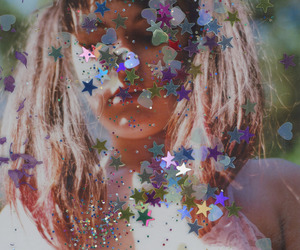 girl, stars, and glitter image
