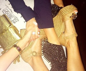 best friends, heels, and gold image