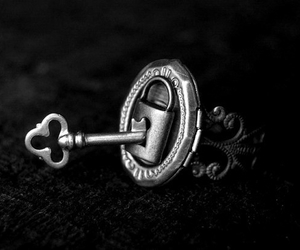 key, black and white, and lock image