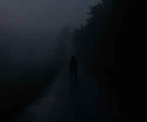 dark and girl image