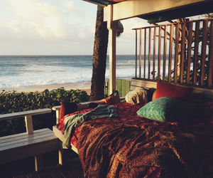 beach, sea, and bed image