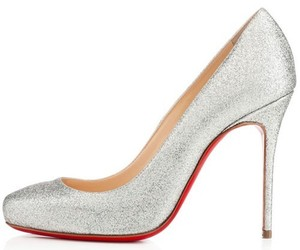 glitter, red sole pumps, and silver image