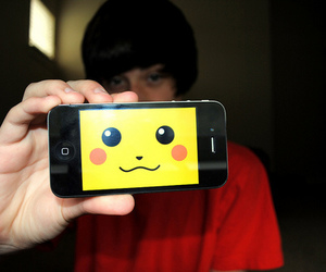 boy, pikachu, and iphone image
