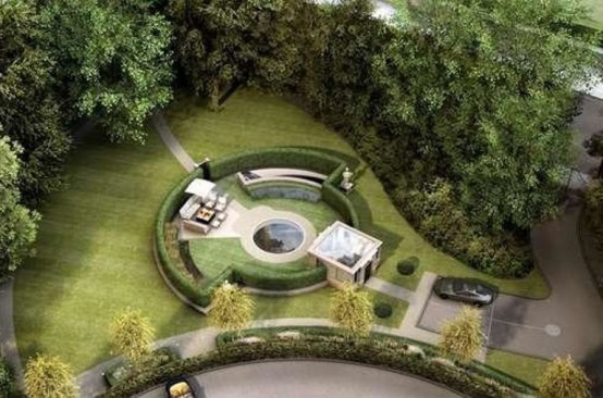 Architecture Luxury Design Of Underground Houses Wonderful Underground Mansion With Beautiful Garden As Well As Pond Round Shape And Lounge Chairs Esspey