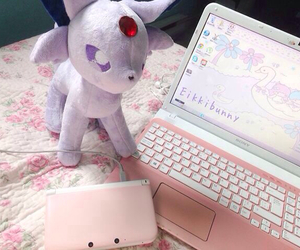 cute, kawaii, and laptop image