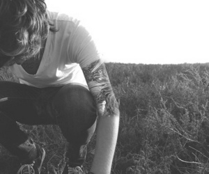 boy, tattoo, and black and white image