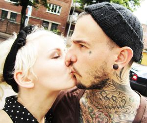 tattoo, couple, and kiss image