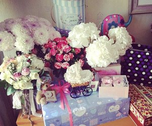 flowers, rose, and gift image