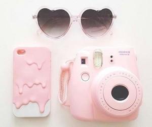 pink, camera, and sunglasses image