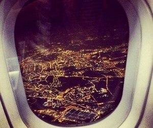 city, plane, and lights image