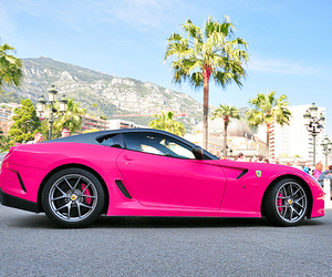 car, pink, and ferrari image