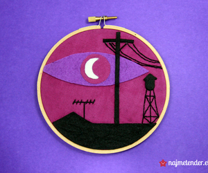 crafts, embroidery hoop, and welcome to night vale image