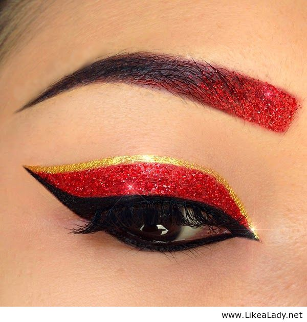 Red Glitter And Gold Cat Eye With Gradient Glitter Eyebrows