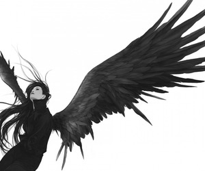dark, angel, and art image