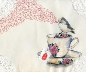 bird, tea, and art image