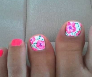 nails, floral, and flowers image