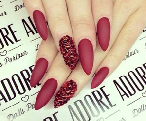 nails, red, and matte image