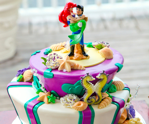 cake, disney, and the little mermaid image