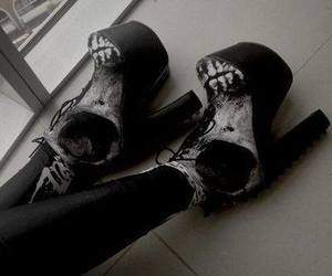 shoes, skull, and goth image