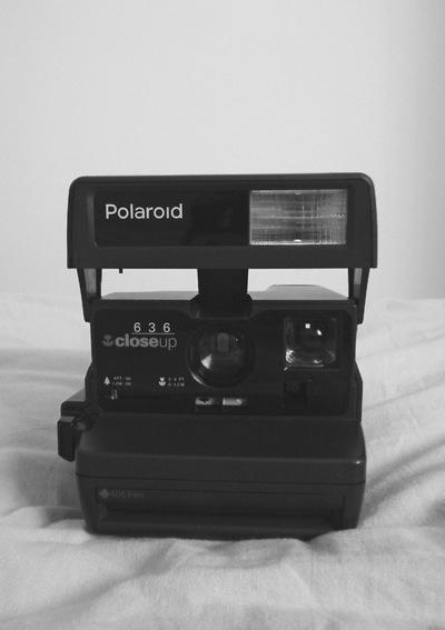 polaroid, camera, and black image