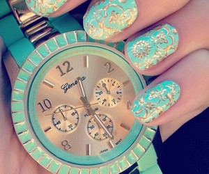 nails, watch, and blue image