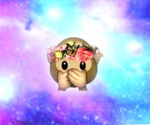 emoji, monkey, and galaxy image
