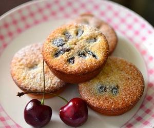 cake, friand, and cherry image
