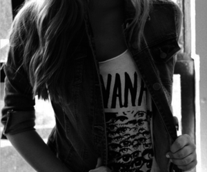 girl, black and white, and nirvana image
