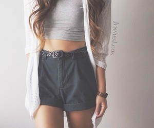 fashion, high waisted, and crop top image