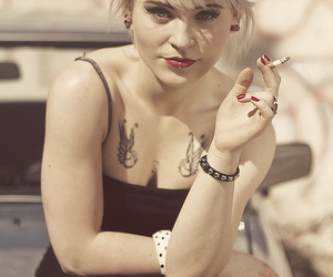 blonde, Piercings, and cigarette image