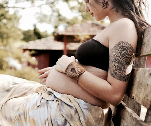 tattoo, pregnant, and dreads image